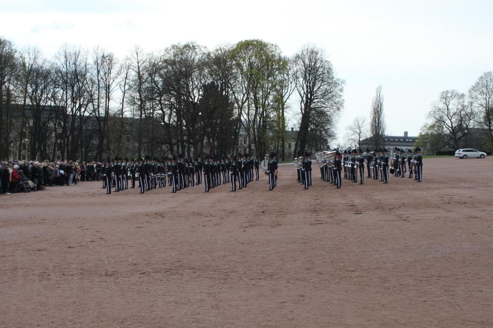 Kp3 ferdig med sin første drill på Slottsplassen.